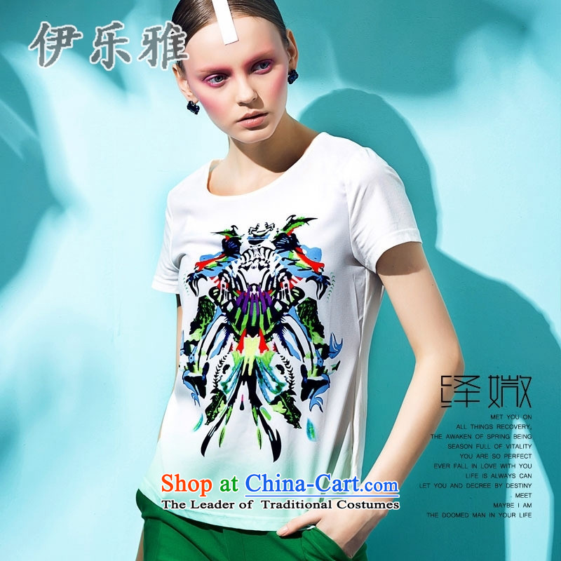 El-Lok Nga 2015 new summer for women population min gradient stamp short-sleeved T-shirt, white?M female