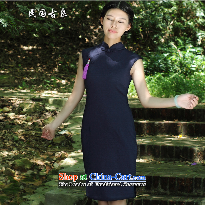 The Republic of Korea Guryan 2015 Republic of Korea wind qipao summer retro short of improvement of sleeveless cheongsam dress summer blue short-sleeve聽L