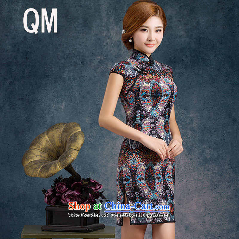 The end of the shallow stretch of Silk Cheongsam improved summer daily fashion sense of Sau San temperament short-sleeved dresses燩YMXYG018爌icture color燤