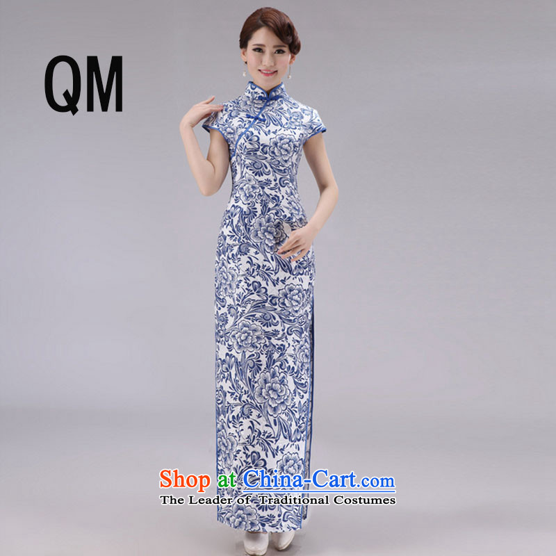 At the end of the summer of qipao light improved porcelain long short-sleeved daily Sau San jacquard cotton national high wind fork dresses?PYMXYG027?picture color?L