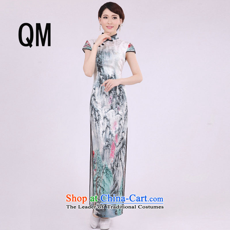 At the end of light cotton improvement of ethnic day-to-day summer qipao Sau San short-sleeved long landscape pattern dresses燩YMXYG033爌icture color燲L