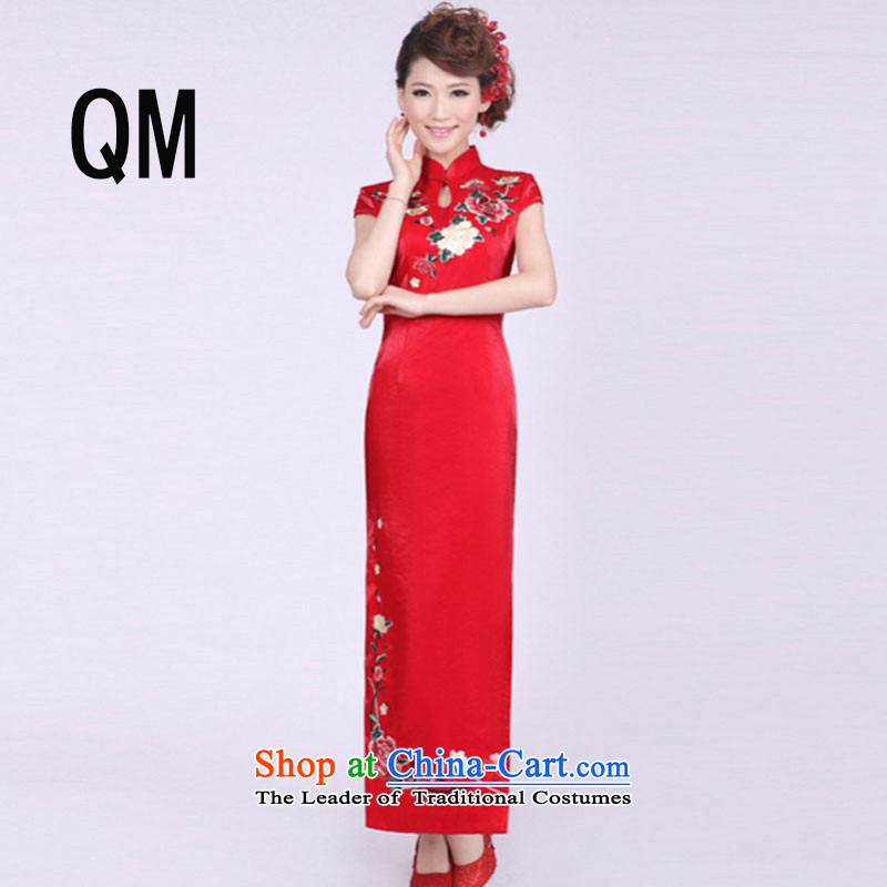 The end of the shallow marriages improved qipao summer long, short-sleeved red Sau San embroidery national China wind bows dress?PYMXYG036?picture color?M