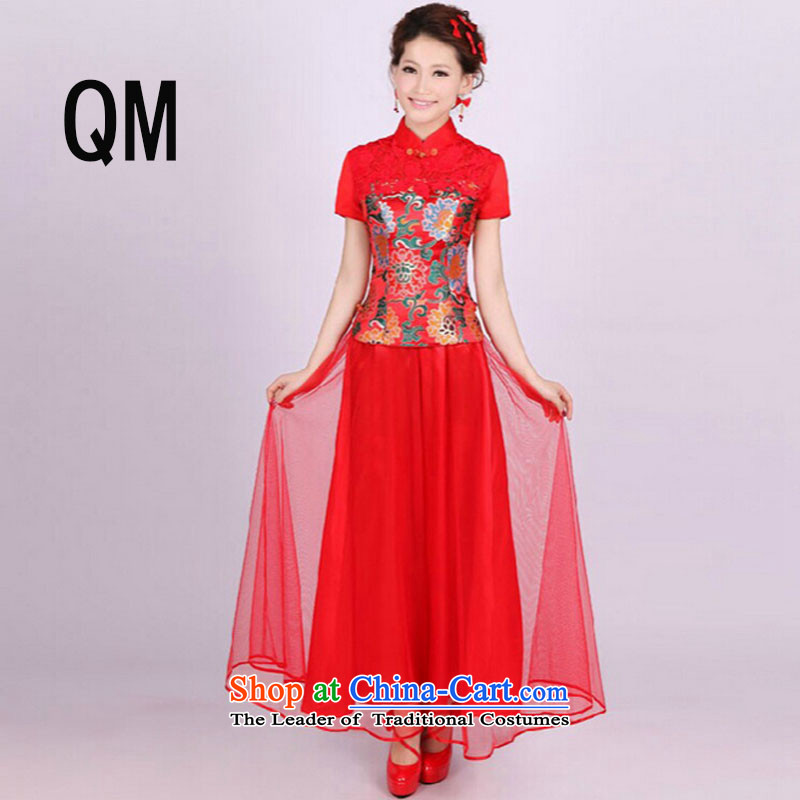 At the end of light red bride retro wedding dress long improved retro ethnic short-sleeved clothing燩YMXYG055 bows爌icture color燲L