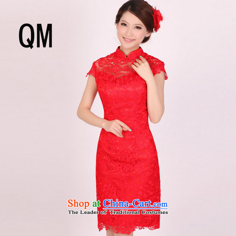 The end of the short period of the summer of light, national feng shui soluble lace bows red even improved cheongsam dress?PYMXYG100?red?L