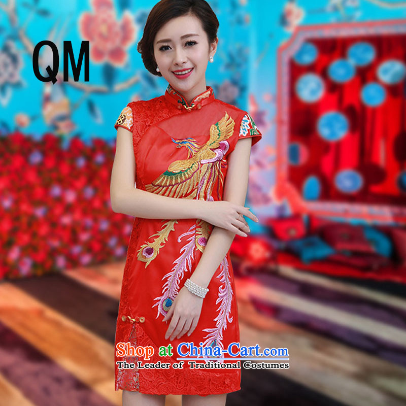 At the end of the summer of qipao light improved wedding dress brocade coverlets red bows services stylish collar short-sleeved燩YMXYG130爎ed燲XL