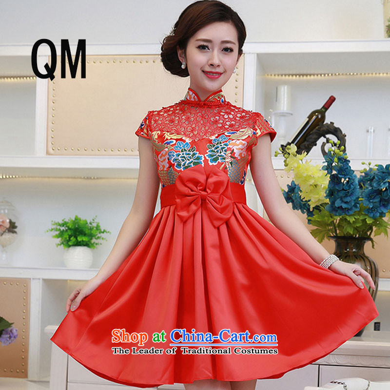 At the end of the summer of qipao light improved wedding dress brocade coverlets stylish red shorts, short-sleeved clothing燩YMXYG132 collar bows爎ed燣