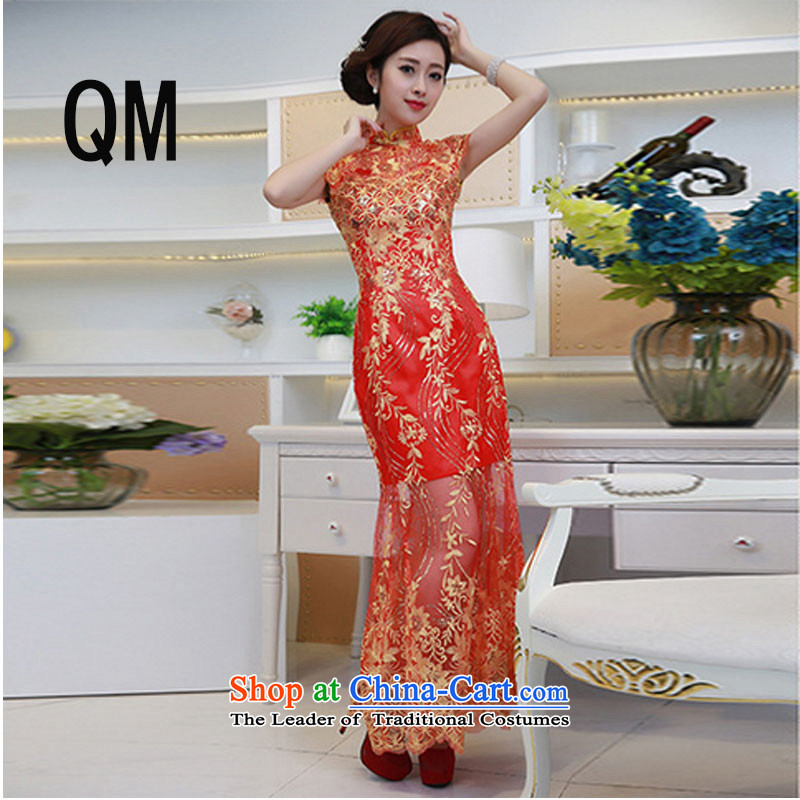 At the end of the summer of qipao light improved wedding dress bows services lace brides red fashion clothing evening dress?PYMXYG133?red?L