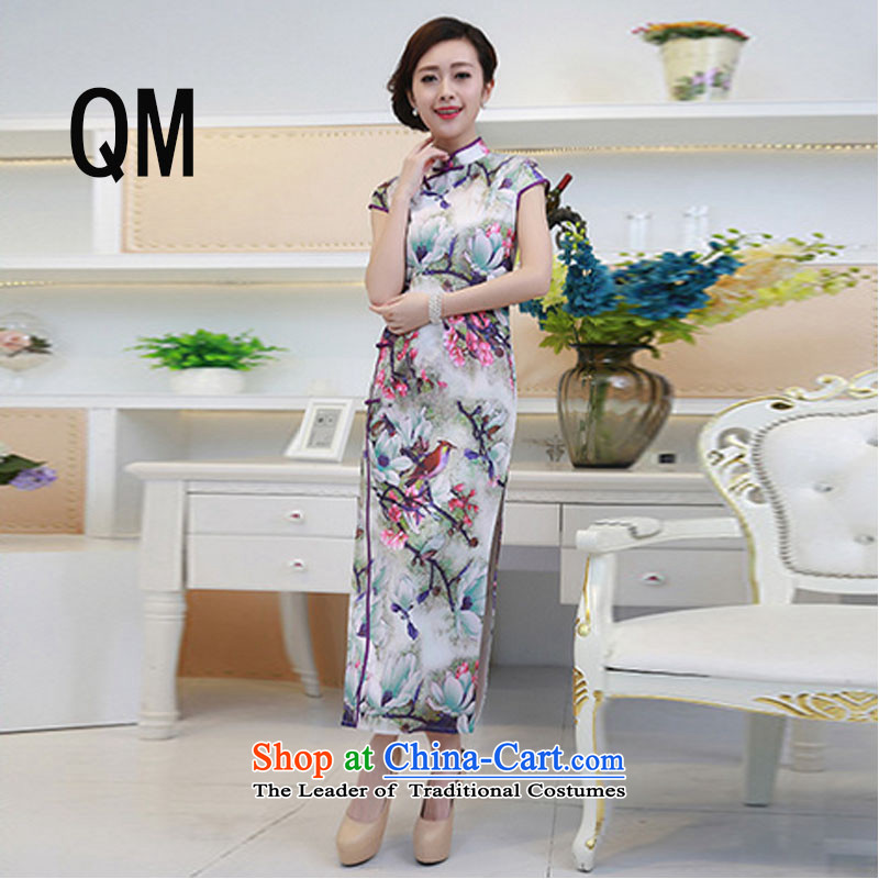 At the end of light long short-sleeved improved qipao summer stereo embroidered national China wind etiquette clothing dresses?PYMXYG135?picture color?L