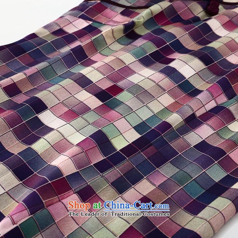 Joe was aristocratic silk cheongsam dress summer improved temperament China wind ZS021聽XXXL,CHOSHAN LADIES,,, Purple Shopping on the Internet