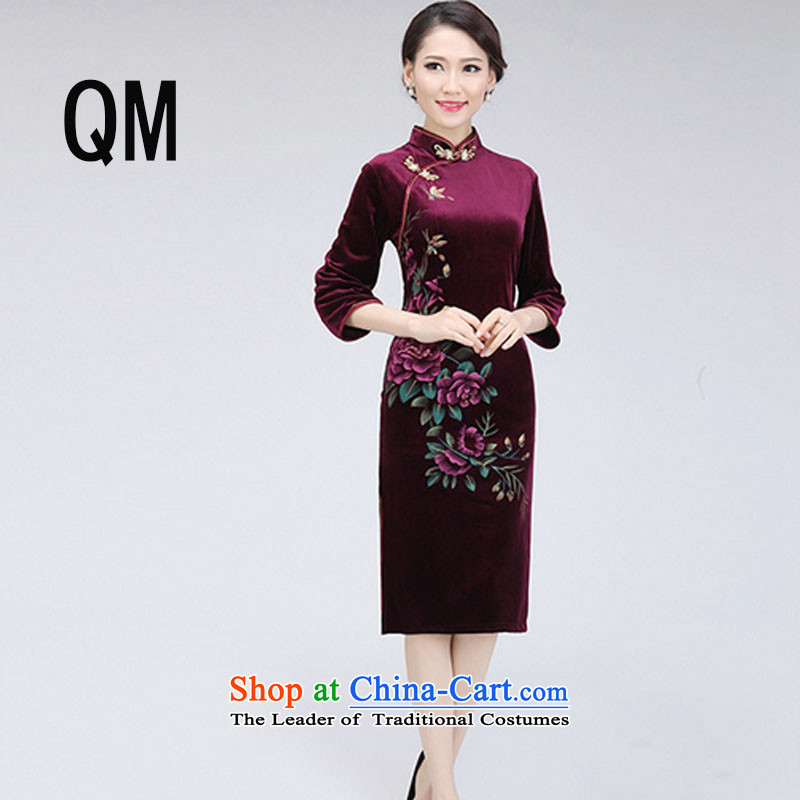 At the end of light and stylish retro Sau San wedding velvet gown mother women improved color picture PYMXYG150-1 qipao XXL