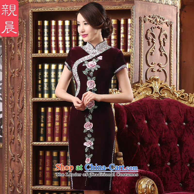 Wedding wedding dress qipao skirt Kim scouring pads installed MOM dresses in long large 2015 new_ Cuff wine red聽2XL