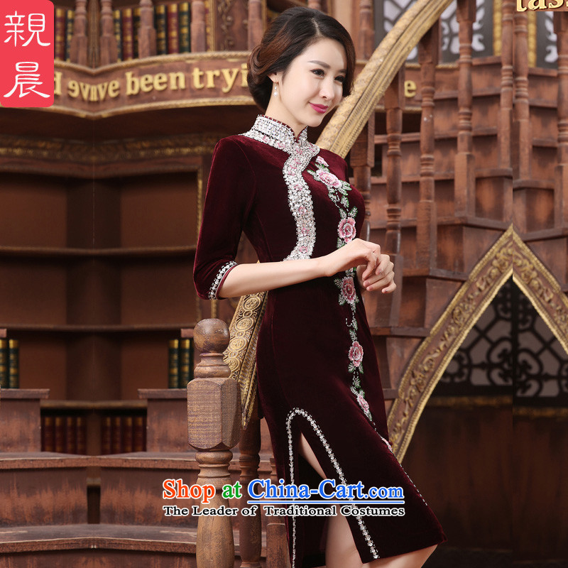 The wedding-dress Kim long skirt qipao scouring pads) Older Mother New wedding in summer and autumn large dresses short-sleeved)聽M, PRO-AM , , , shopping on the Internet