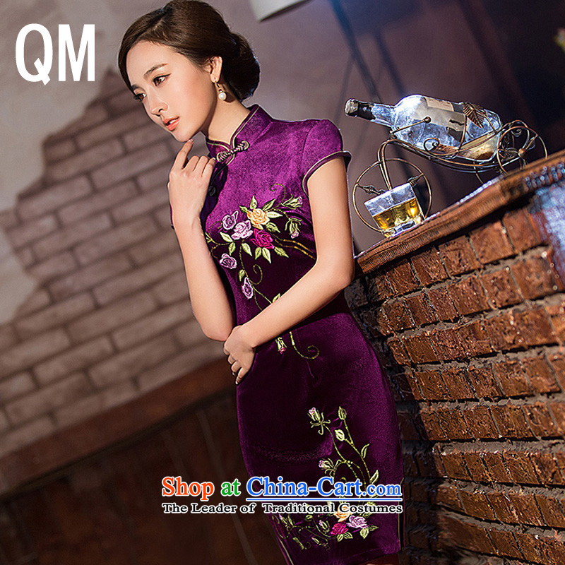 The end of the day-to-day qipao light short of Sau San scouring pads cheongsam dress?WMBQ146?picture color?L