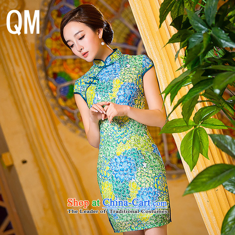 At the end of light floral short of Sau San dresses qipao聽WMBQ206聽picture color聽M