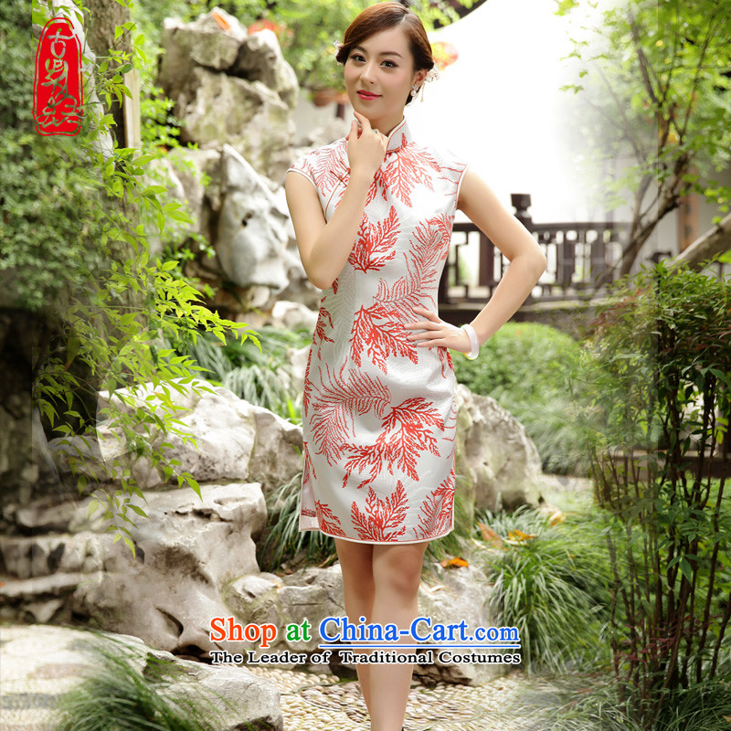 The Wu female red 2015 New Silk Cheongsam dress summer Sau San-to-day Ms. improved cheongsam dress elegant stamp燤