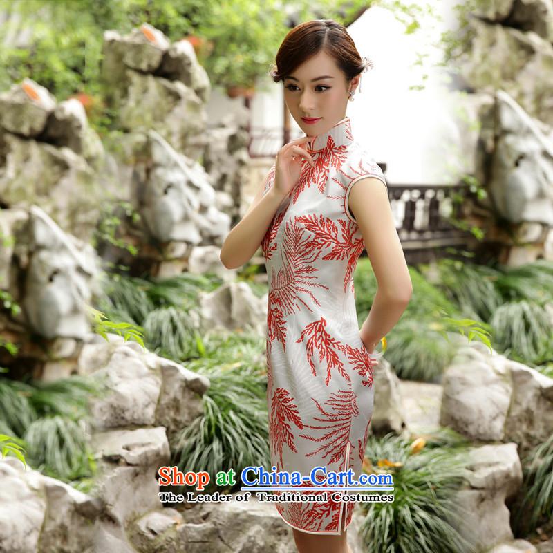 The Wu female red 2015 New Silk Cheongsam dress summer Sau San-to-day Ms. improved cheongsam dress elegant stampM, Wu female red , , , shopping on the Internet