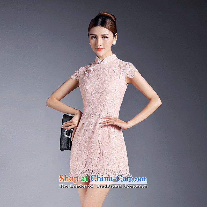 Lace cheongsam dress m.livelihood.h 2015 Amoi Tang Dynasty Chinese women improved stylish short-sleeved short of Qipao pink?S-tray snap manually