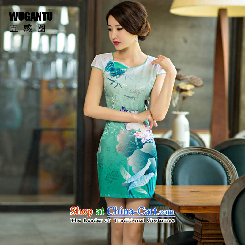 The five senses figure new stylish qipao 2015 Lotus gradient improved stylish figure cheongsam dress summer stylish WGT1569 Green, Sau San M