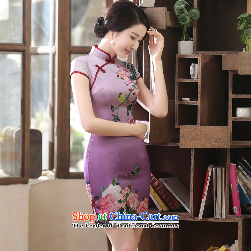Morning new qipao Land summer short of improvement and Stylish retro herbs extract silk cheongsam dress video thin Chinese purple燲XL