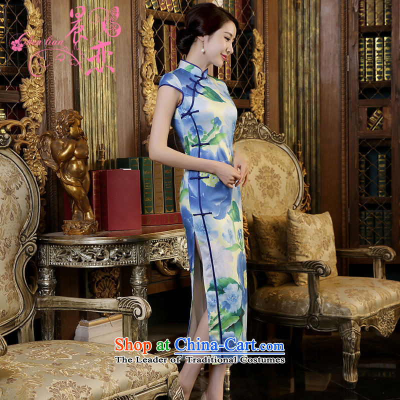 Morning new qipao land long nightmare for summer high on sepia short, stylish Chinese qipao improved graphics thin blue mood for?L