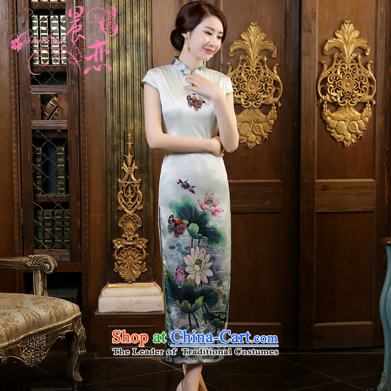 Morning new qipao land long summer short of improvement and Stylish retro silk CHINESE CHEONGSAM video sauna thin green green I should be grateful if you would arrange燲XL