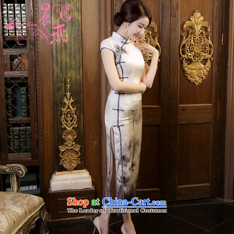 Morning new qipao land long summer short of improvement and Stylish retro silk CHINESE CHEONGSAM video sauna thin Light Gray Ink燤