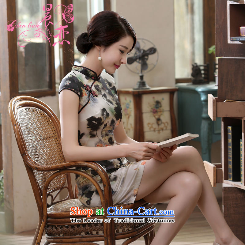 Morning new qipao Land summer short of improvement and Stylish retro herbs extract heavyweight Silk Cheongsam video thin ink Nga Light Gray燲L