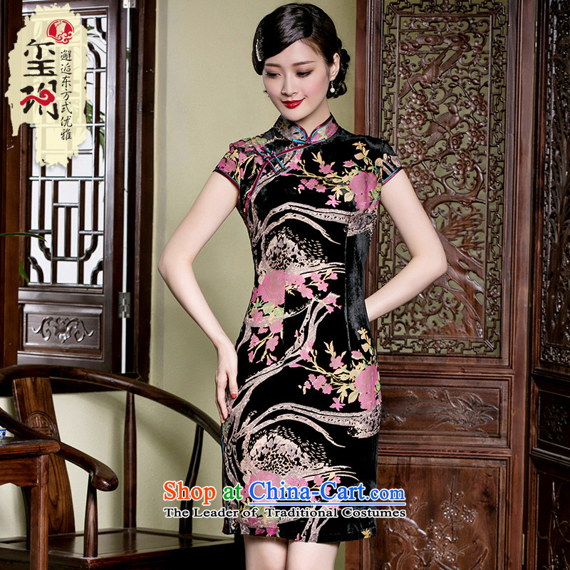 The seal of a new summer, silk burned down traditional disk deduction Sau San qipao Chinese female qipao improved dresses picture color燲XL