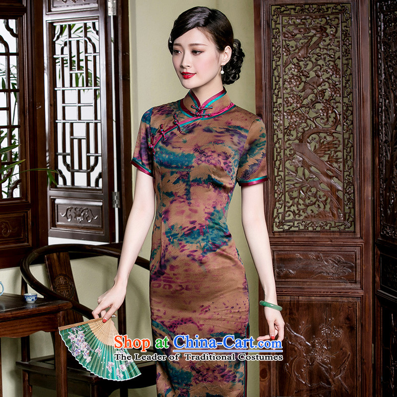 Seal new summer of high-end incense cloud yarn qipao retro short, Ms. retro Sau San cheongsam dress photo color�XL