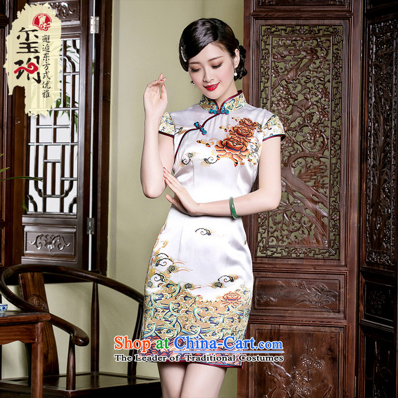 The seal of a new summer_ _ Xiangyun heavyweight Silk Cheongsam improved daily improved stamp and the relatively short time of qipao skirt picture color燤