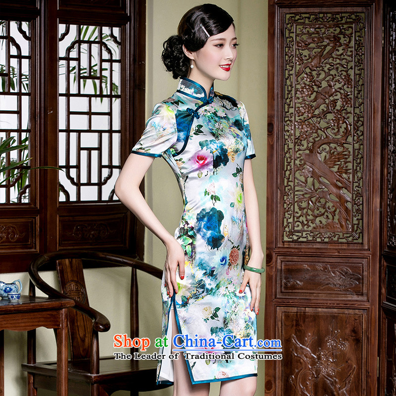 The seal of the new heavyweight Silk Cheongsam retro in long-to-day Chinese name manually-yuan improved disk detained dresses picture color?L