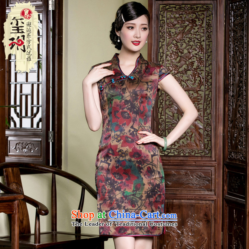 The seal of the Summer Scent cloud yarn retro Silk Cheongsam daily short, Ms. improved according to the Pongee elegant dresses picture color?M