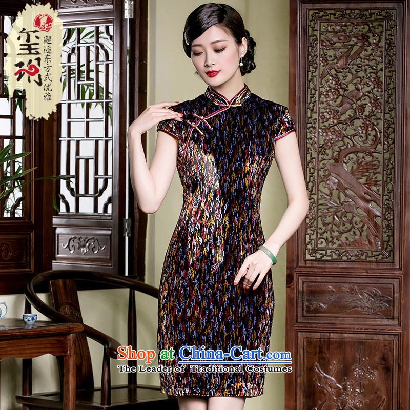 The seal of a new summer products Silk Cheongsam retro-burned elegance of the middle-aged Chinese cheongsam dress photo color燲XL
