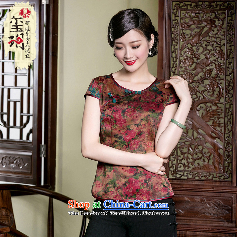 The seal of a new summer, Retro ethnic Heung-cloud yarn qipao T-shirt, Retro Silk Tang Dynasty Chinese T-shirt picture color�L