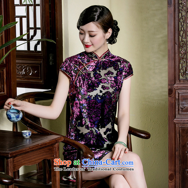 The seal of a new summer, Silk Cheongsam retro-burned in older, improved daily cheongsam dress photo color燣