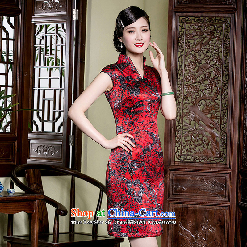 The improvement of retro seal V-Neck short-sleeve Sau San qipao heavyweight Silk Cheongsam Ms. Tang dynasty summer dresses wine red?L