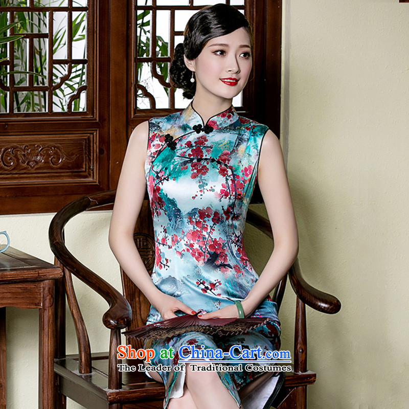 Seal of a new summer sleeveless in long Silk Cheongsam improved day-to-day Chinese dresses elegant dresses picture color�L