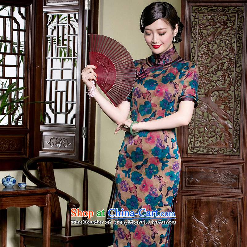The Seal of Butterfly Dream incense cloud * silk cheongsam dress yarn, long-high-end manually upgrading Chinese women's dresses picture color?M