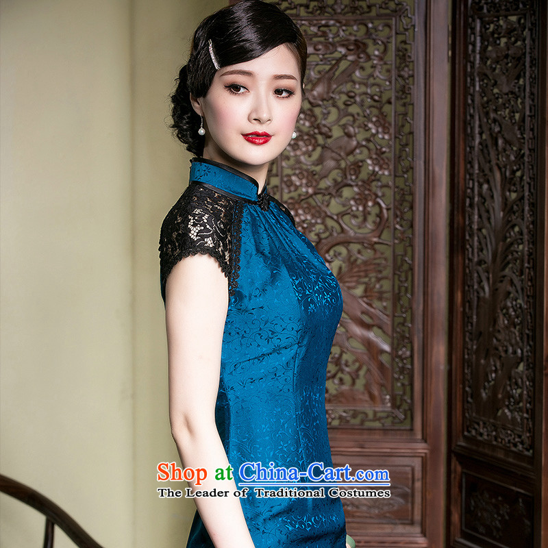 Seal of Chinese improved cheongsam dress Sau San video silk thin lace stitching aristocratic Ms. stylish pictures color燬 Cheongsam
