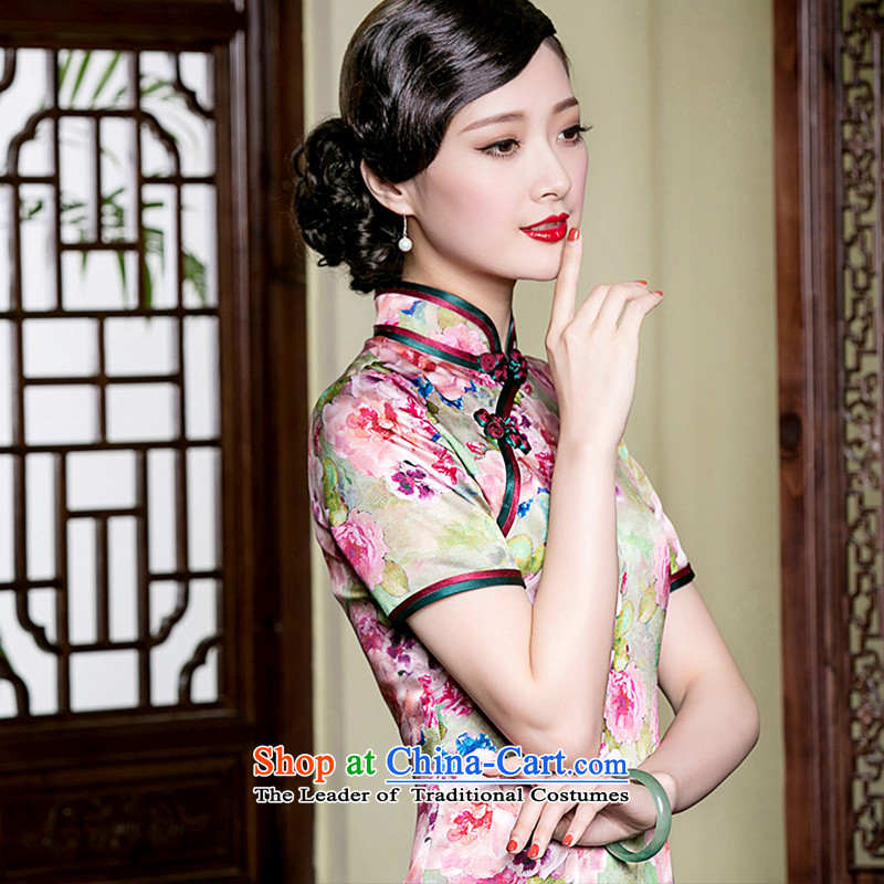 The seal of the new Silk Cheongsam dress upscale retro improvement cuff manually herbs extract elegant dresses picture color?M