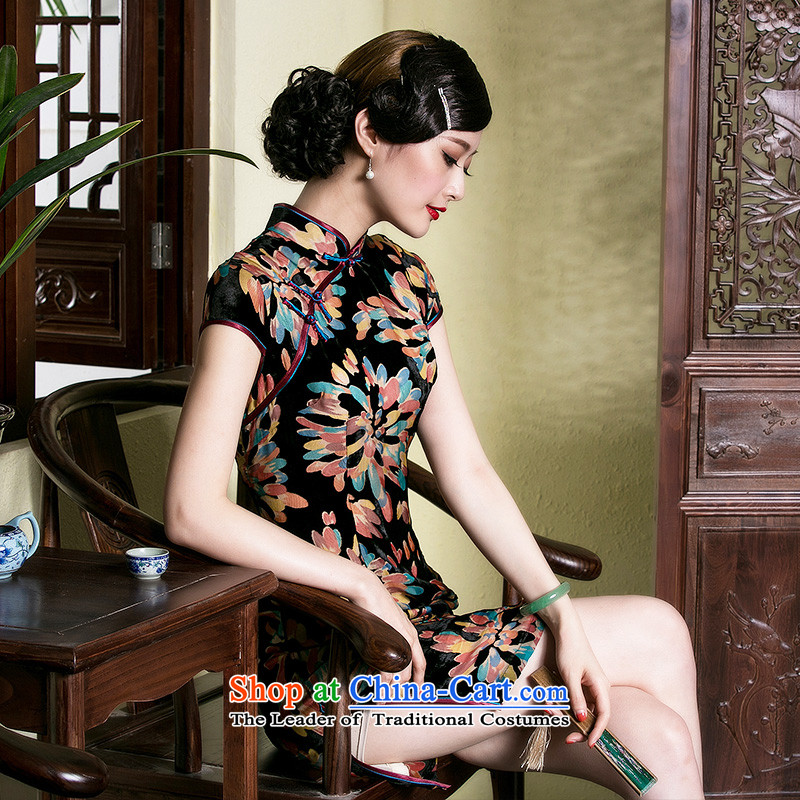 The seal of the Summer 2015 New Silk burned down the middle-aged cheongsam dress retro improved large elegant dresses picture color燲L