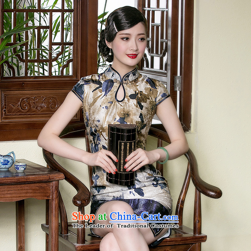 The seal of a new summer, Silk Cheongsam dripping from the shortage of improvement for retro style qipao everyday dress photo color燲L