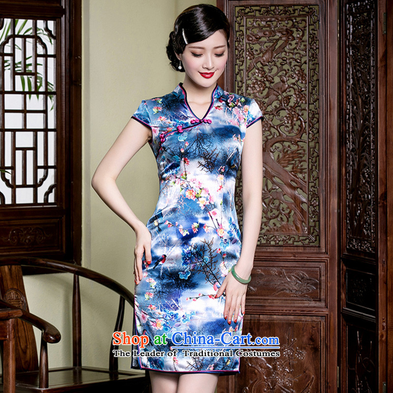 The improvement in the summer of seal V-Neck qipao heavyweight silk stamp stylish and elegant Chinese ethnic dresses picture color?S
