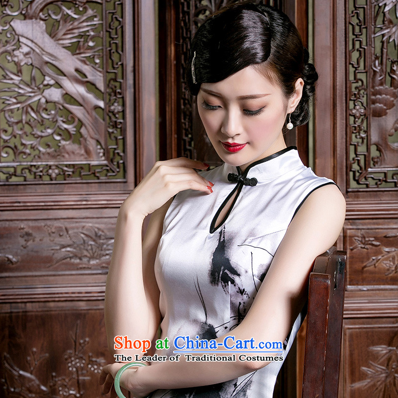 The seal of a new summer, Heavyweight Silk Cheongsam Ms. sleeveless retro improved short, elegant qipao dresses picture color燲L