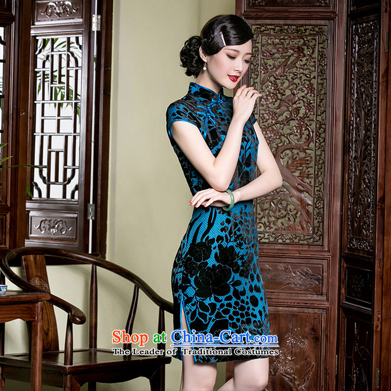 The seal of a new summer, Silk Cheongsam retro-burned improved middle-aged moms-ethnic dresses picture color燲XL