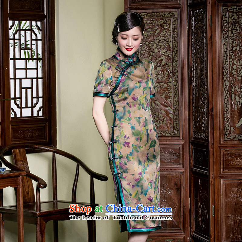 The principle of high-end seal retro cloud of incense on the Silk Cheongsam in yarn long heavy industry tray clip bilateral Chinese Dress dresses picture color燬 15 days pre-sale
