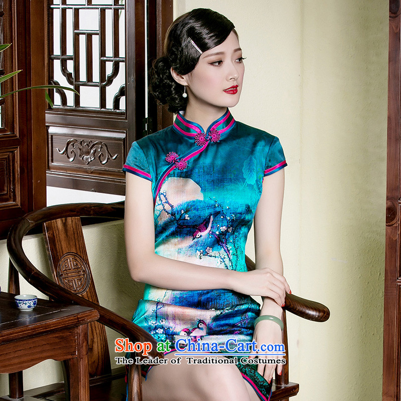 The seal of a new summer, Heavyweight Silk Cheongsam elegant retro improved short, banquet dress cheongsam dress photo color燲L