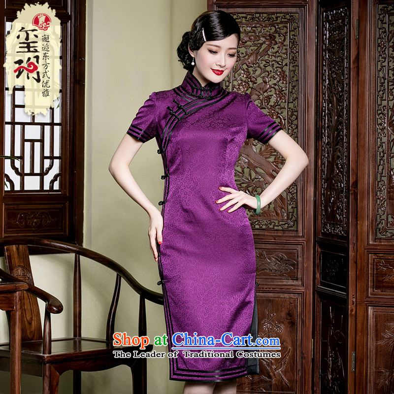The seal of a new summer, Silk Cheongsam daily improvement manually in the elegant qipao long sauna silk dresses purple?M