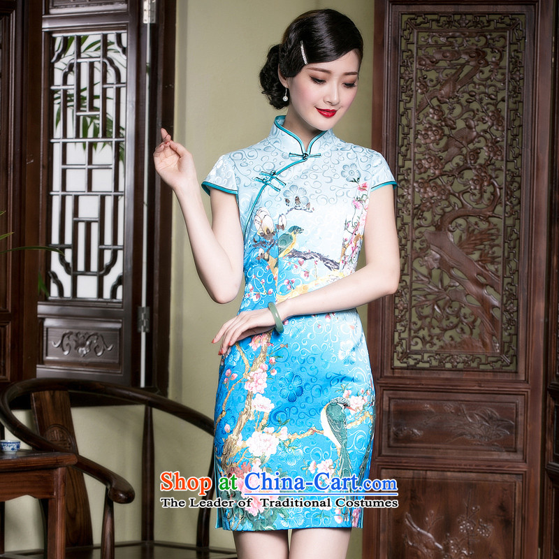 The seal of a new summer, cotton jacquard improved daily cheongsam elegant qipao and Stylish retro Ms. dresses blue peony?M