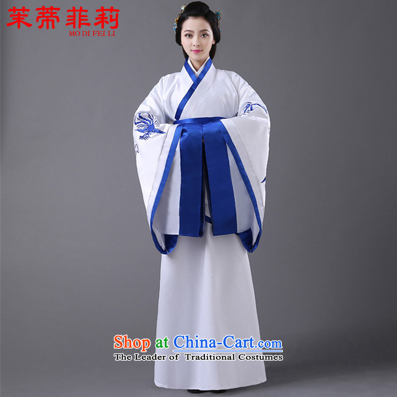 Energy Tifi Han-li hong Kong-those Tang Dynasty Chinese women to high enough wide sleeves waist chest skirt and white T-shirt, you can multi-select attributes by using the blue skirt strips are code